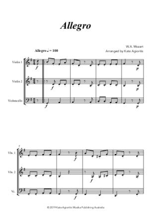 Allegro (Mozart) – for String Trio