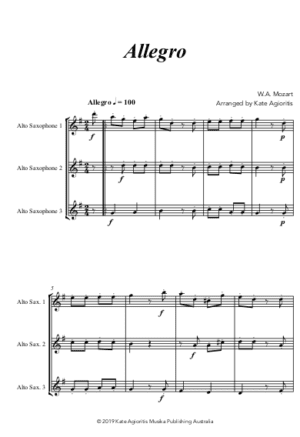 Allegro (Mozart) – for Saxophone Trio