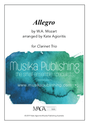 Allegro (Mozart) – for Clarinet Trio