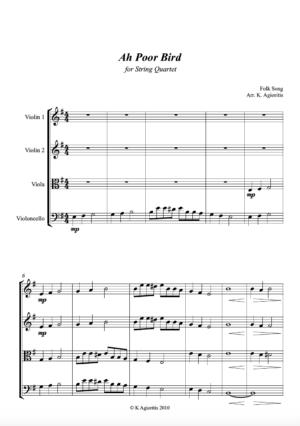 Ah Poor Bird for String Quartet