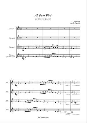 Ah Poor Bird – Clarinet Quartet