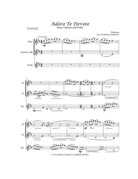 ADORO TE DEVOTE flute clarinet violin 1