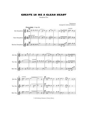 CREATE IN ME A CLEAN HEART (saxophone trio)