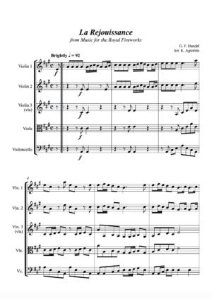 La Rejouissance (Handel) – for String Quartet