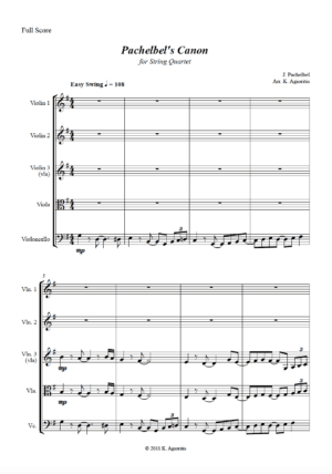 Pachelbel's Canon – A Jazz Arrangement for String Quartet