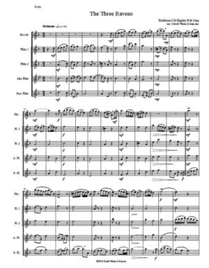 Variations on The Three Ravens (piccolo, 2 flutes 1 alto 1 bass)