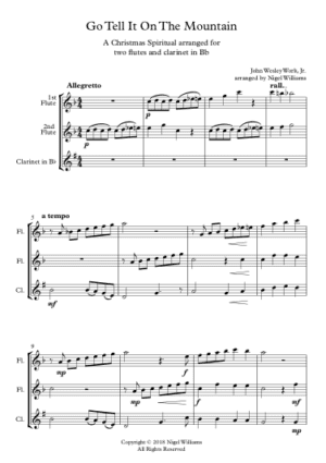 Go Tell It On The Mountain – Woodwind Trio