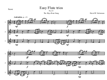 sky boat song flute trio first page
