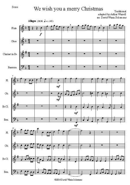 merry woodwind quartet first page