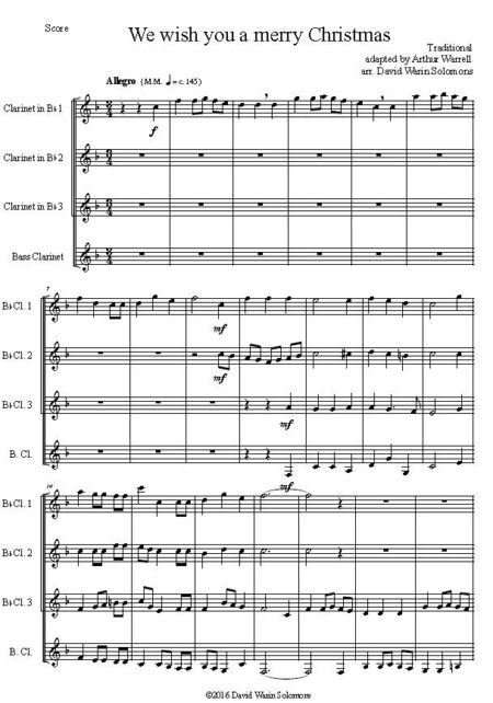 merry clarinet quartet first page