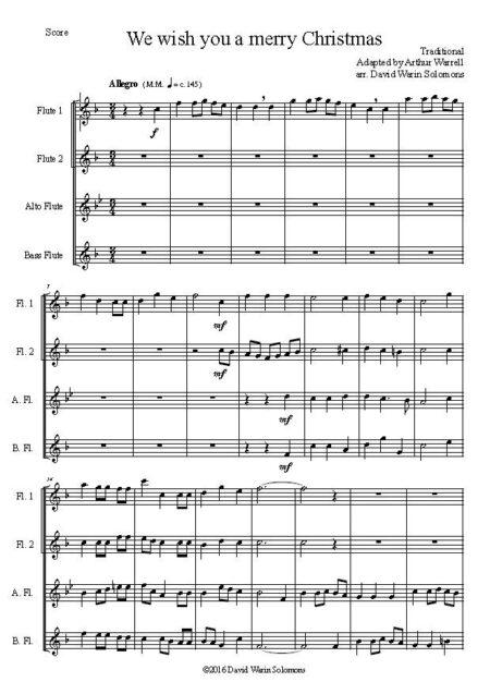 merry xmas flute quartet first page