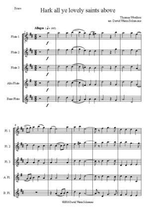 Hark All Ye Lovely Saints Above – Flute Quintet (3C, Alto and Bass)