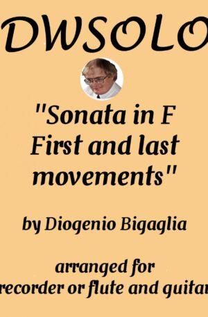 Sonata in F (1st and last movements) for alto recorder or flute and guitar by Diogenio Bigaglia