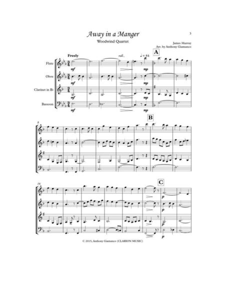 AWAY IN A MANGER - woodwind quartet
