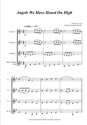 Angels We Have Heard On High – Jazz Carol for Clarinet Quartet