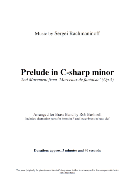 Prelude in C-sharp minor (Rachmaninoff, arr. Rob Bushnell) - Brass Band (Preview 2)