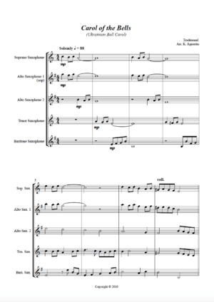Carol of the Bells – a Jazz Arrangement – for Saxophone Quartet