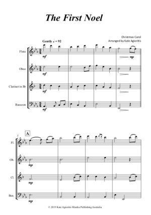 The First Noel – for Woodwind Quartet