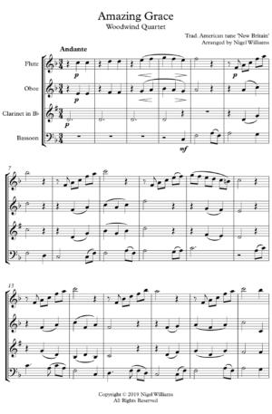 Amazing Grace – Woodwind Quartet