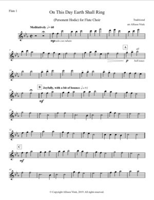 On This Day Earth Shall Ring – Flute Choir – Parts