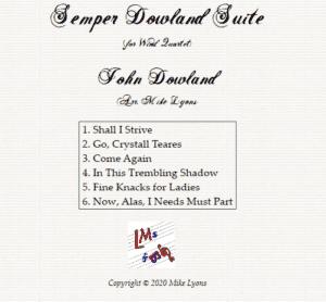 Woodwind Quartet – Semper Dowland Suite