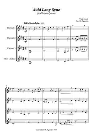 Auld Lang Syne – Jazz Arrangement for Clarinet Quartet