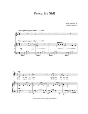 PEACE, BE STILL – medium voice solo/piano accompaniment