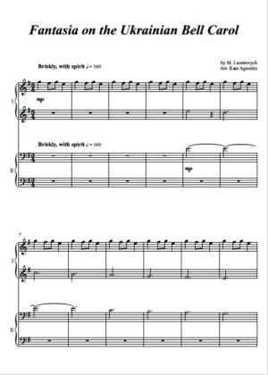 Fantasia on the Ukrainian Bell Carol – Piano Duet