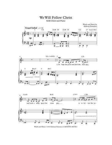 WE WILL FOLLOW CHRIST [SAB/piano]