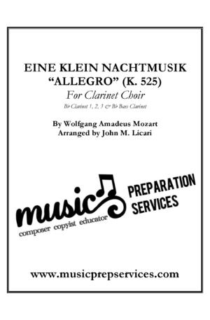 """""""Allegro"""" from Eine Klein Nachtmusik (K.525) – W.A. Mozart, arr. John M. Licari (For Clarinet Choir)"""