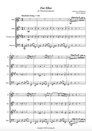 Fur Elise – Jazz Arrangement – Woodwind Quartet