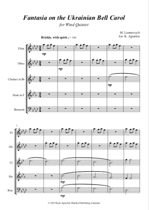 Fantasia on the Ukrainian Bell Carol – Wind Quintet