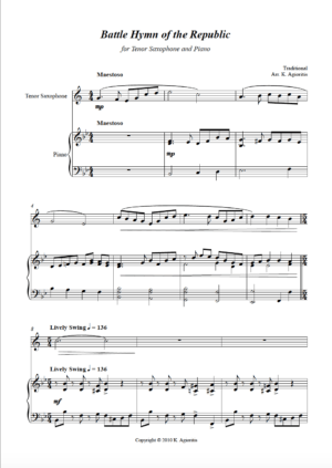 Battle Hymn of the Republic – Jazz Arrangement – Saxophone and Piano