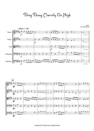 Ding Dong Merrily on High – String Quintet or String Orchestra