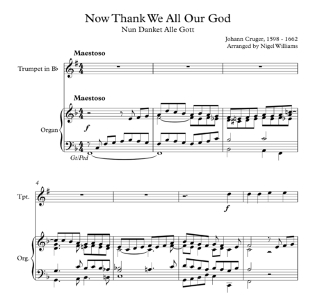Now Thank We All Our God, for Trumpet and Organ