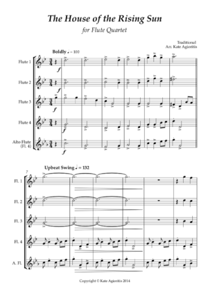 The House of the Rising Sun – Jazz Arrangement for Flute Quartet