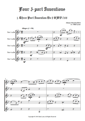 J. S. Bach – Four 3-Part Inventions – Brass Quintet