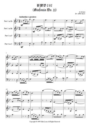 Brass Quartet – BWV 797 Sinfonia No. 11
