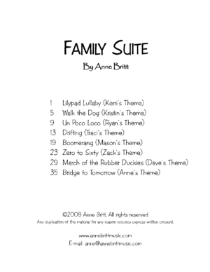 Family Suite songbook – piano solos