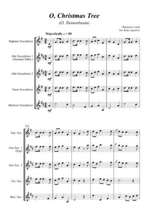 O Christmas Tree (O Tannenbaum) – Jazz Carol for Saxophone Quartet