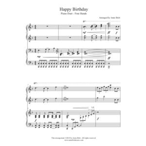 Happy Birthday – intermediate piano duet