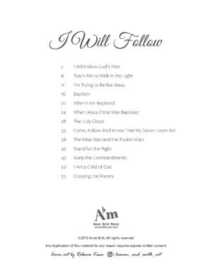 I Will Follow songbook – piano solos