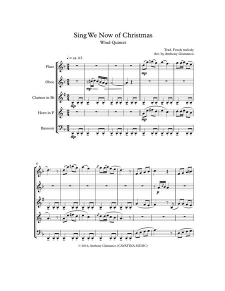 SING WE NOW OF CHRISTMAS - wind quintet