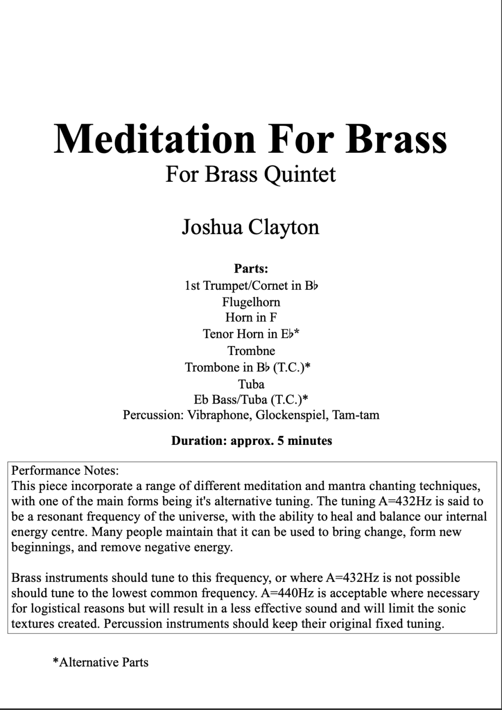 Meditation For Brass – Brass Quintet + Percussion