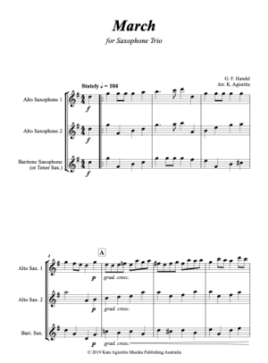 March (Handel) – for Saxophone Trio