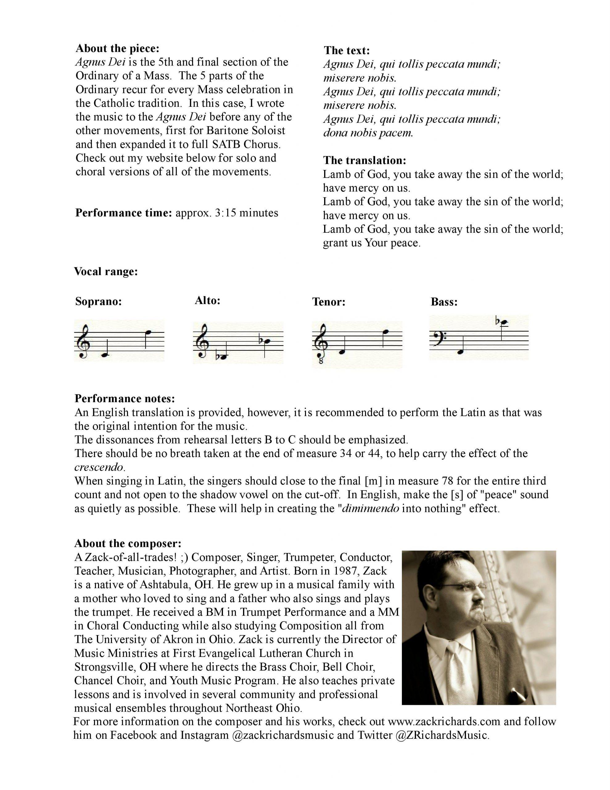 Agnus Dei (Lamb of God) for SATB Choir and Piano