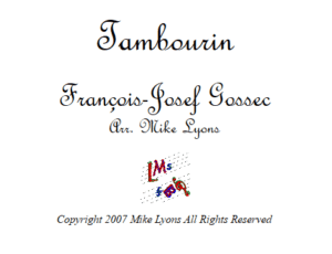 Tambourin – Duet for two Bb Solosts with Band