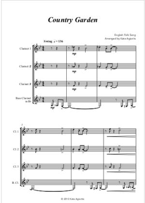 Country Garden – Jazz Arrangement for Clarinet Quartet