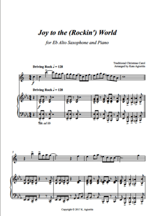 Joy to the (Rockin') World – for Solo Saxophone (Eb or Bb) and Piano