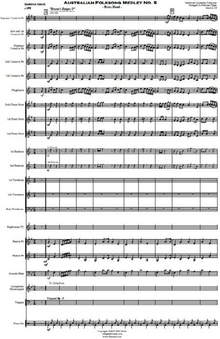 220 Australian Folksong Medley No. 5 Brass Band SAMPLE page 01